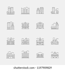 Buildings Icons Set for websites and mobile apps. Perfect Pixel.