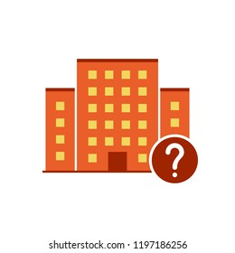 Buildings icons vector with question mark. Urban estate icon and help, how to, info, query symbol. Vector illustration