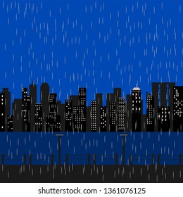 Buildings in large city, silhouette style with retro shading blue color and heavy rain storm falling background