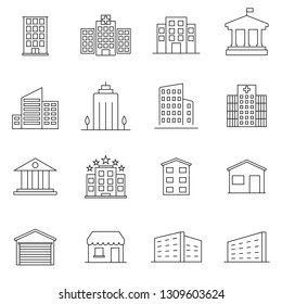 Buildings line icon set. Bank, shop, university, hotel. Architecture concept. Can be used for topics like office, city, real estate