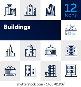 Buildings line icon set. Bank, school, courthouse, university, library. Architecture concept. Can be used for topics like office, city, real estate