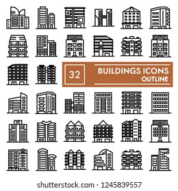Buildings line icon set, hous symbols collection, vector sketches, logo illustrations, architecture signs linear pictograms package isolated on white background, eps 10