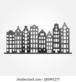 Buildings in old European style. City houses set. Urban landscape symbol. Vector illustration.