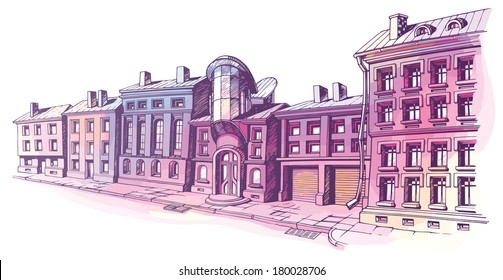 The buildings - old and new - are at the city street in a pastel shades. It's the hand-drown colored sketch on a white background. The layered vector EPS v10.