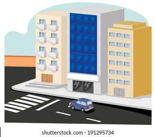 buildings on a street corner in town