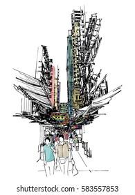 Buildings on street market sketchbook : Hong Kong.