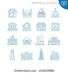 Buildings related icons. Editable stroke. Thin vector icon set