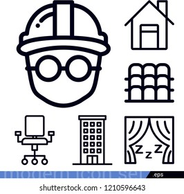 Buildings related outline vector icons contains such as architect, curtains, desk chair, grandstand, building icons  - pack of 6
