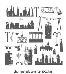 Buildings set, vector city elements