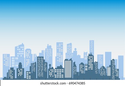 Buildings silhouette cityscape background.  Modern architecture. Urban landscape.