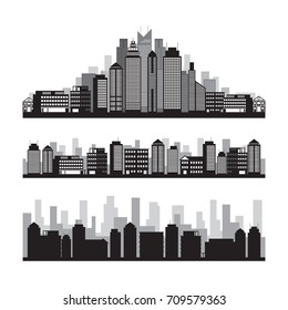 Buildings and Skyscrapers Silhouette Set, Cityscape, Residential, Condominium, Apartment, Office