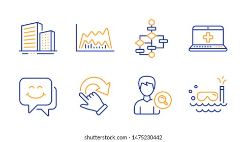 Buildings, Smile face and Trade chart line icons set. Block diagram, Search people and Medical help signs. Rotation gesture, Scuba diving symbols. City architecture, Chat. Business set. Vector