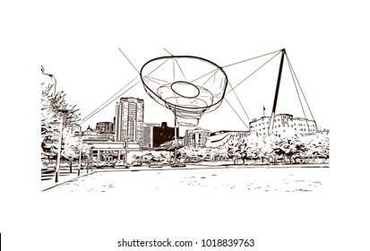 Buildings and street view of Phoenix City, Arizona, USA. Hand drawn sketch illustration in vector.
