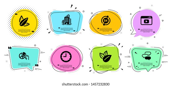 Buildings, Talk bubble and Money currency line icons set. Chat bubbles with quotes. Organic product, Video content and Pie chart signs. Sunflower seed, Time symbols. Vector