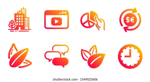 Buildings, Talk bubble and Money currency line icons set. Organic product, Video content and Pie chart signs. Sunflower seed, Time symbols. City architecture, Chat message. Business set. Vector