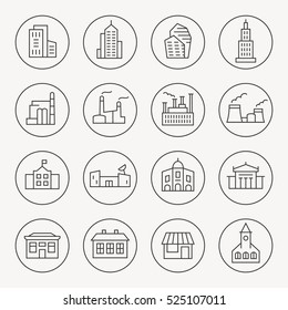 Buildings thin line icon set