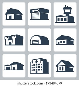 Buildings vector icons set, isometric style #3