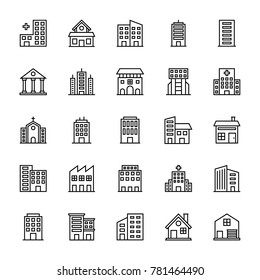 Buildings Vector Line Icons 2