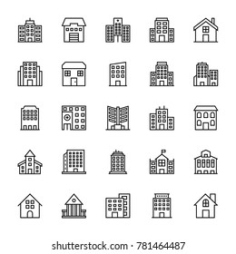 Buildings Vector Line Icons 3