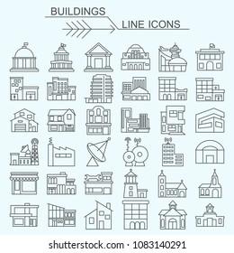 Buildings vector line icons editable stroke