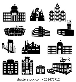 Buildings vector web icons set. Various types of construction - vector illustration