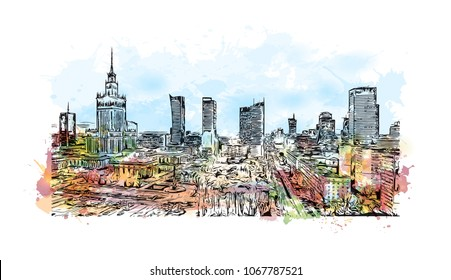 Buildings view with landmark and street of  Warsaw Capital of Poland. Watercolor splash with hand drawn sketch illustration in vector.