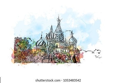 Buildings view of Moscow, Capital of Russia. Watercolor splash with hand drawn sketch illustration in vector.