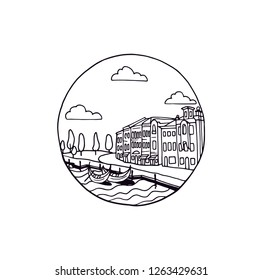 Buildings with view on the sea in a round circle graphic design vector illustration. Sea city outline drawing logo sketch. Mediterranean town with dockyard and boats. Romantic city in the summer.