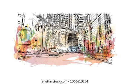 Buildings view with street of Singapore Country in Asia. Watercolor splash with Hand drawn sketch illustration in vector.