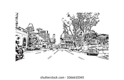 Buildings view with street of Singapore Country in Asia. Hand drawn sketch illustration in vector.