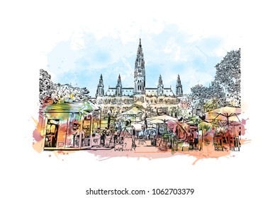 Buildings view with street of Vienna Capital of Austria. Watercolor splash with hand drawn sketch illustration in vector.