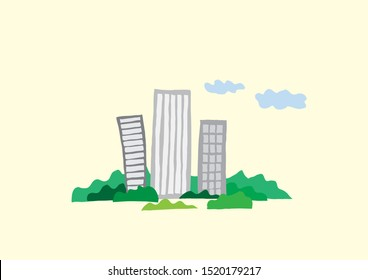 Building-themed illustration. a building in the woods.