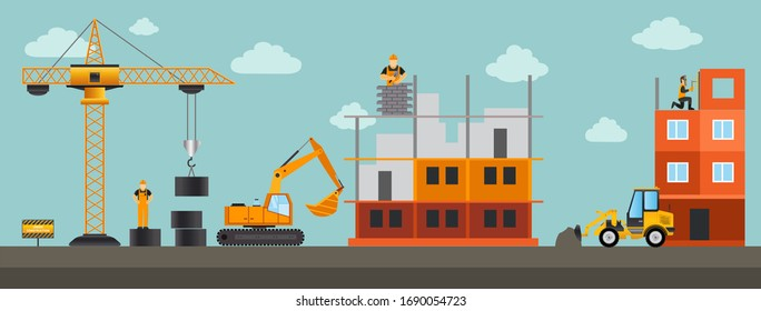 Building.Vector illustration. Men builders and construction equipment. Facebook cover