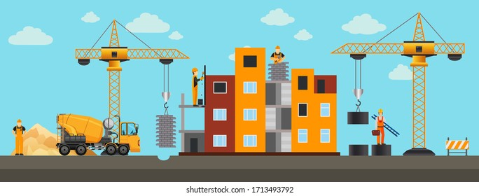 Building.Vector illustration. Men builders and construction equipment.  Сover