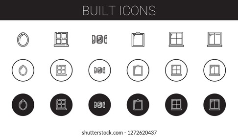 built icons set. Collection of built with window, windows. Editable and scalable built icons.