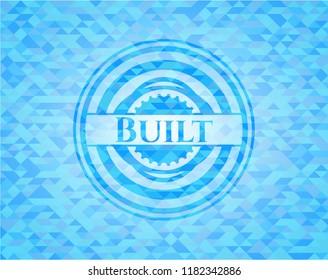Built realistic sky blue mosaic emblem