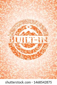 Built-in abstract orange mosaic emblem with background