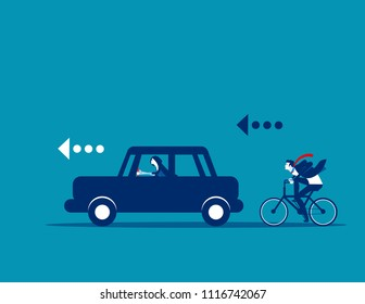 Buisness team and competition, Concept business vector illustration, Flat business cartoon, Overcome, Car vs Bicycle, Competitive, Performance.