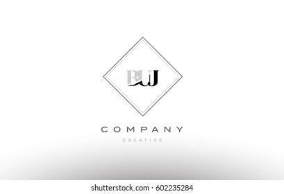 buj b u j retro vintage simple rhombus three 3 letter combination black white alphabet company logo line design vector icon template