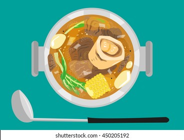 Bulalo is a native beef dish of the Philippines made usually of  marrow bones, corn, veggies, potato and beef shranks. Flat Lay image style. Editable Clip art.