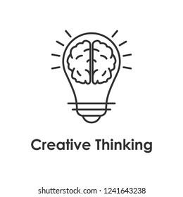 bulb, brain, creative icon with name