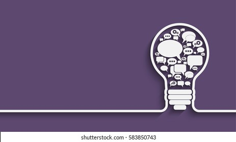 bulb with bubble speech, an idea concept, vector illustration for your design