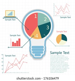 bulb with business background, concept of success an idea, infographic template