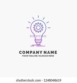 Bulb, develop, idea, innovation, light Purple Business Logo Template. Place for Tagline