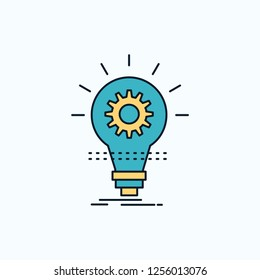 Bulb, develop, idea, innovation, light Flat Icon. green and Yellow sign and symbols for website and Mobile appliation. vector illustration
