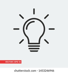 Bulb flat icon on white background, vector illustration