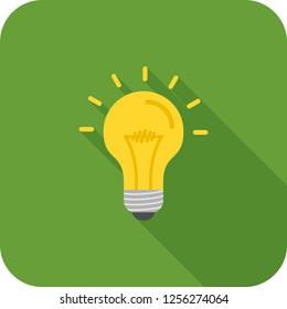 Bulb flat multi color long shadow icon.