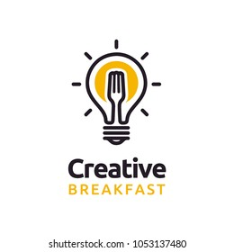 Bulb & Fork Creative Breakfast Restaurant logo design inspiration