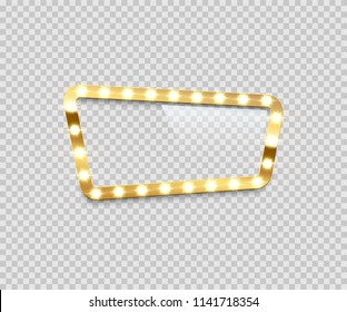Bulb frame isolated on transparent background. Vector template.