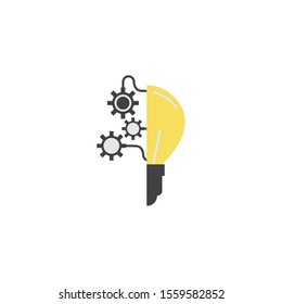 bulb gears connection idea icon flat style illustration